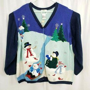 Quacker Factory Snowman Winter Cardigan